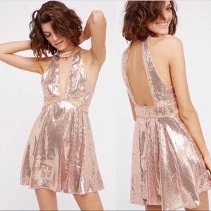 NWT Free People Film Noir Sequin Halter Mini Dress